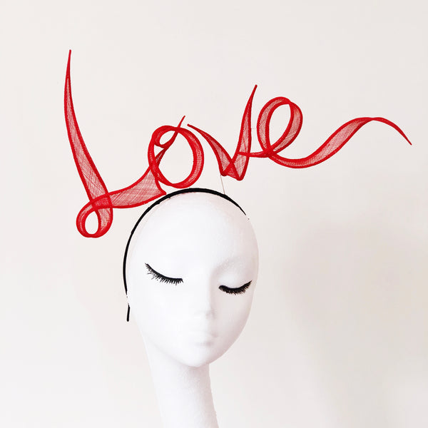 LOVE Letters Slogan Red Hand Rolled Sinamay Headband Hat Yuan Li London Millinery Bridal Veil Wedding Royal Ascot Valentine's Day Gift