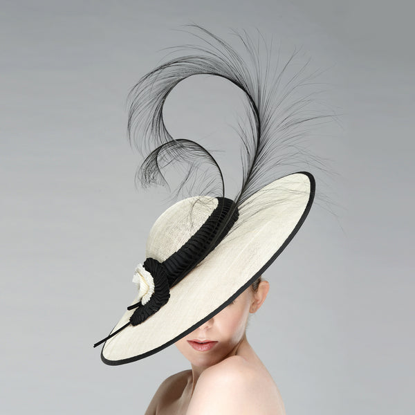 04f9f0c825e7a My Fair Lady Hat Royal Ascot Wide Brim Black White Audrey Hepburn – Yuan Li  London