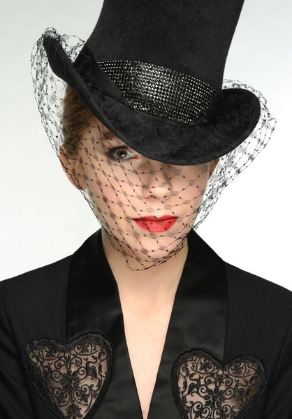 Victoria Fur Felt Top Hat With Antique Veil