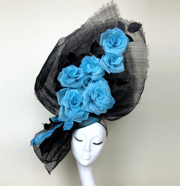 Blue Rose Bouquet Headdress