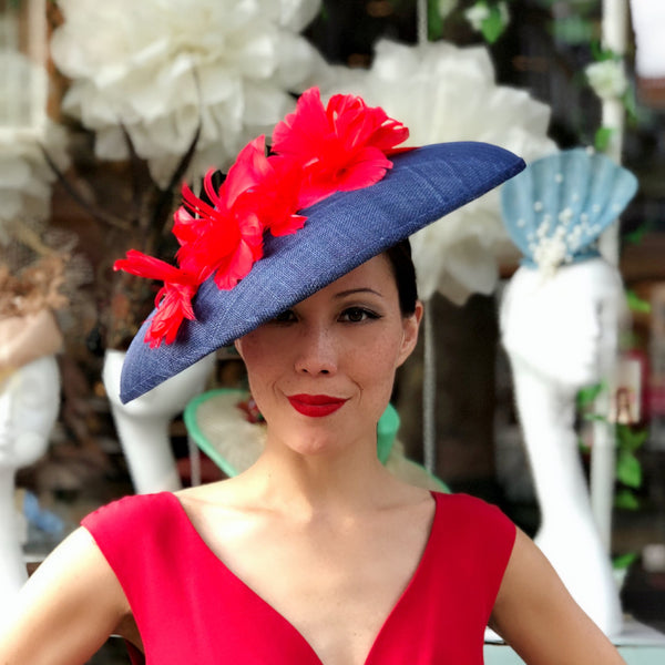 Grace Navy Red Feather Flower Hat