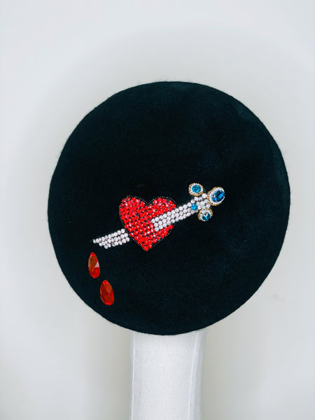 Red Heart & Dagger Beaded Black Wool Beret