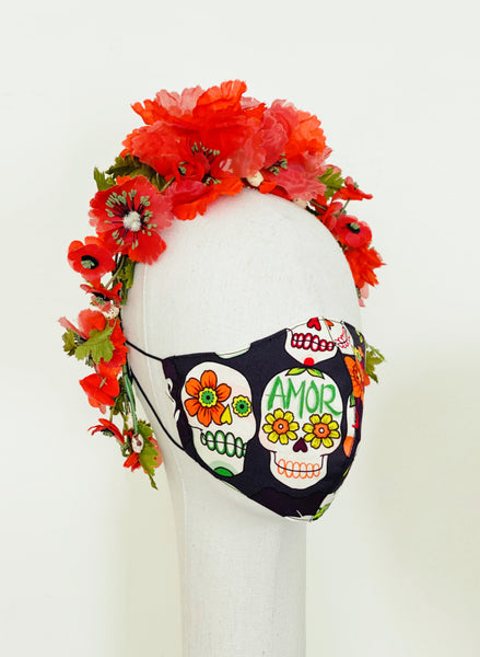 limited edition Frida Kahlo Skulls Flowers Cotton fabric Mask