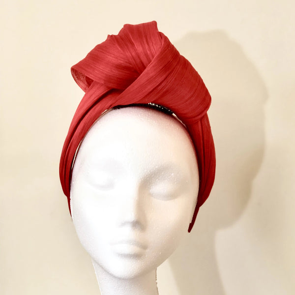 True Love Turban Red Silk Abaca Headband