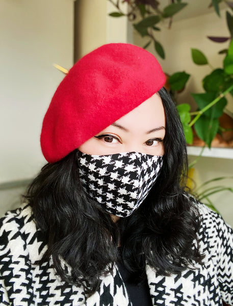 Black White Houndstooth Cotton Face Mask Cover