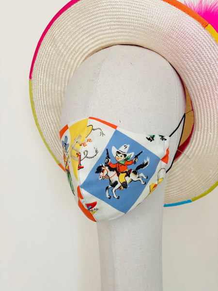 Novelty Vintage Cowboy Cowgirl Print Cotton Summer Face Mask Filtered Cover