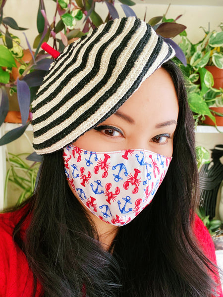 Nautical Lobsters Anchors Print Cotton Summer Face Mask Filtered Cover