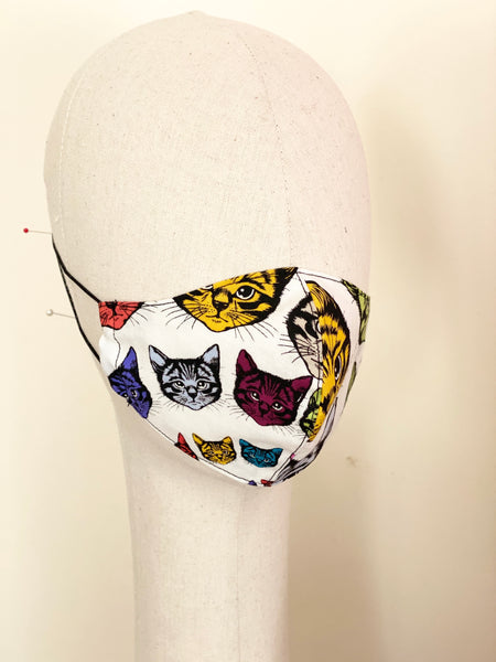 Limited Edition Psychedelic Cats Print Cotton Face Masks Filtered