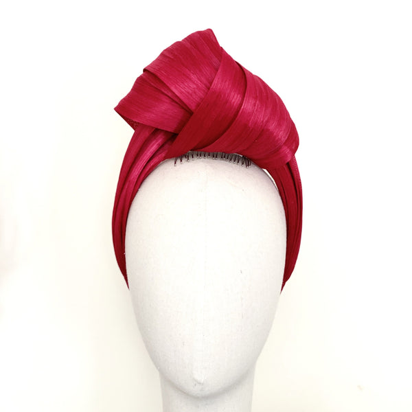 True Love Turban Raspberry Pink Silk Abaca Headband