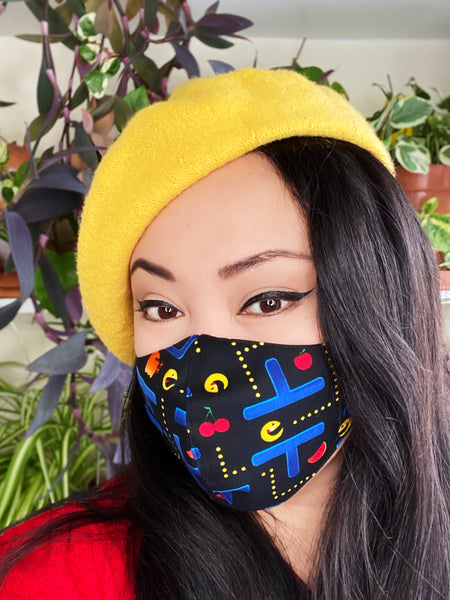 Novelty Vintage PAC Man Print Cotton Summer Face Mask Filtered Cover