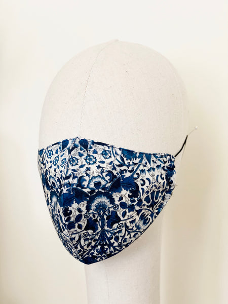 Blue White Classic Liberty Print Tana Lawn Cotton Filtered Face Mask