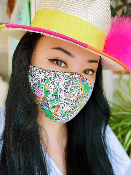 Hackney London Fields Map Liberty Print Tana Lawn Cotton Filtered Face Mask
