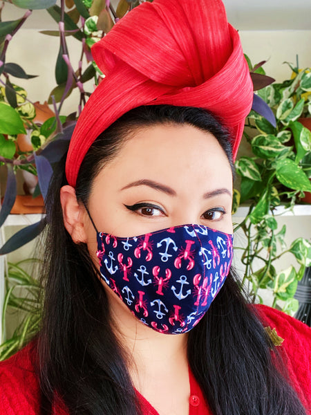 Nautical Lobster and Anchor Print Cotton Summer Face Mask Filtered Cover