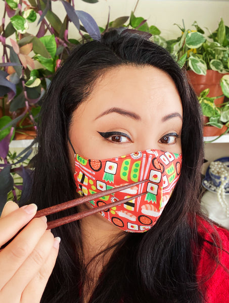 Novelty Sushi Print Cotton Summer Face Mask Filtered Cover
