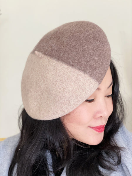 2 Shades of Latte Colour Blocking Wool Beret
