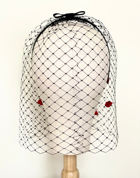kiss red lips black birdcage veil bridal party hat fascinator yuanlilondon millinery wedding