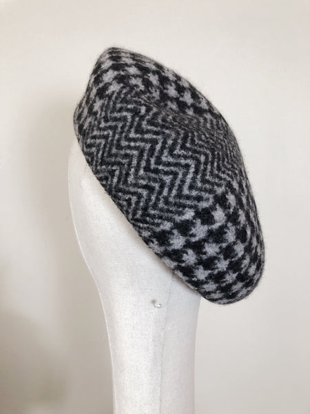 Black Grey Houndstooth Herringbone Wool Beret