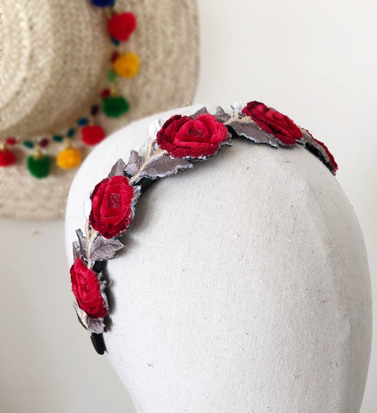 Frida Kahlo inspired Velvet Rose Garland Headband Fascinator
