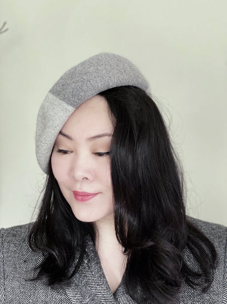 2 Shades of Grey Colour Blocking Wool Beret