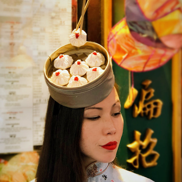 YUANLILONDON YUan Li London XIao long bao chinese steamed bun silk dupion fascinator hat