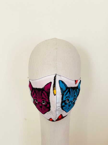 Limited Edition Psychedelic Cats Print Cotton Face Mask E Filtered