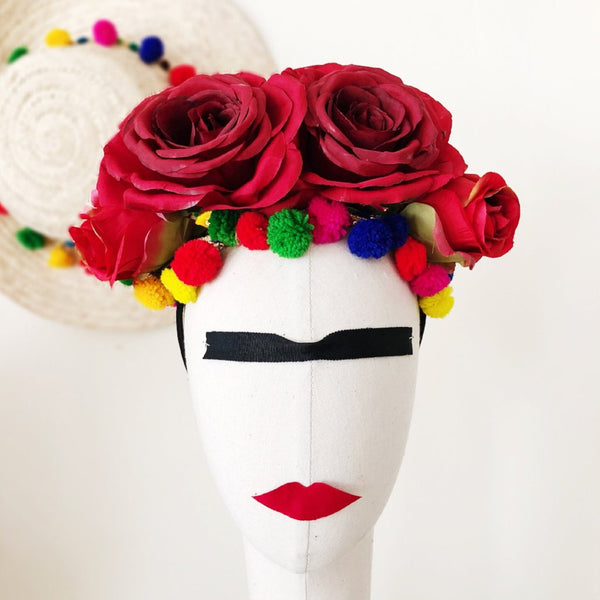 Frida Kahlo Inspired Red Rose and Pom Poms Headband Fascinator