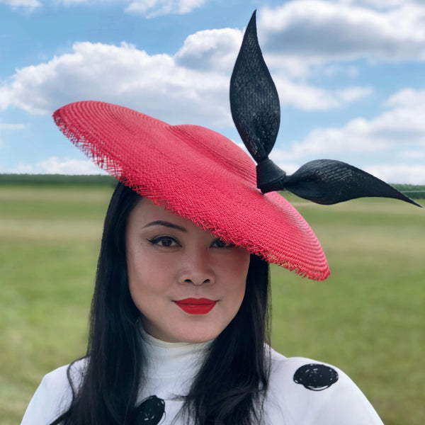 Estelle Red Buntal Saucer Hat with Black Bow