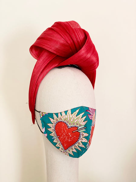 Frida Kahlo Sacred Heart Face Cover Mask Green Filtered