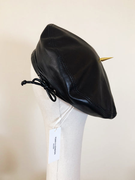 Grace Black Leather Beret Gold Spike