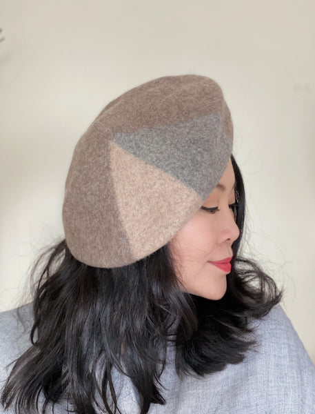 Latte Light Grey Wool Beret