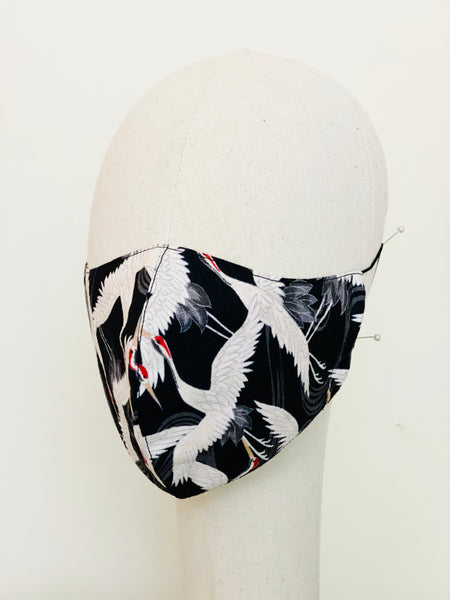 Japanese Stork Print Cotton Face Mask Filtered Cover B