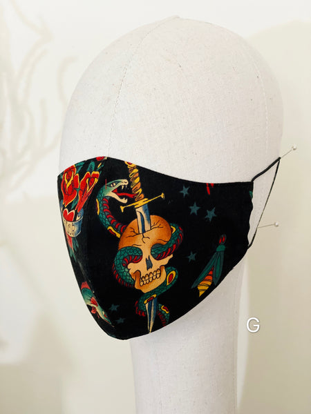 Halloween Tattoo Sailor Jerry Print Cotton Face Mask Filtered Cover