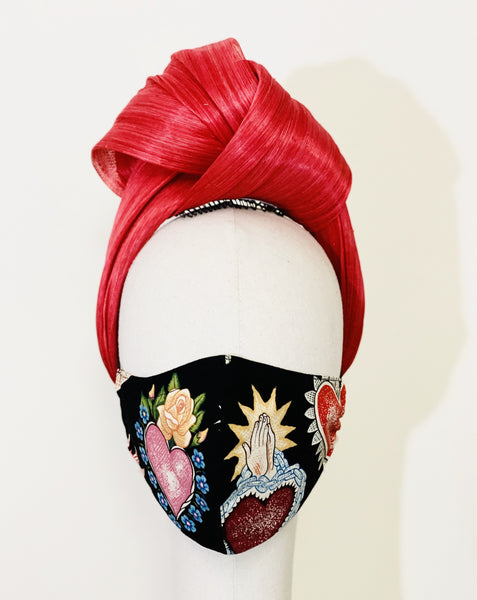 Yuan Li London Millinery Frida Kahlo Sacred Heart Cotton Fabric face mask covering