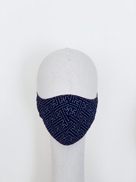 Limited Edition Sashiko Indigo White Cotton Face Cover Mask Filtered