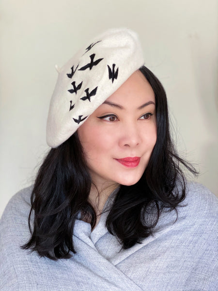 White Black Birds Wool Beret