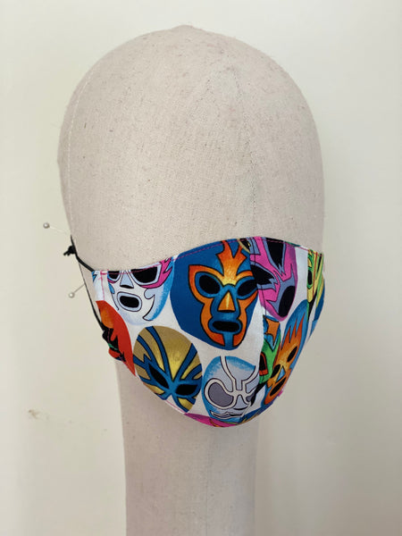 Mexican Lucha Libre Mask Print Cotton Child 5-8years Pocket Style Filtered Face Mask