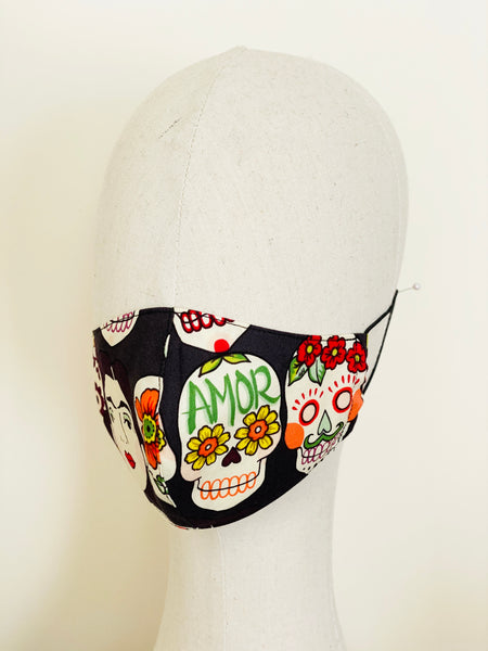 Limited Edition Frida Kahlo Flowers Sugar Skulls Print Cotton Face Cover Mask Filtered