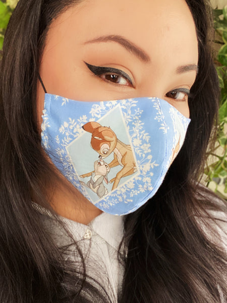 Novelty Bambi Disney Cartoon Print Cotton Summer Face Mask Filtered Cover