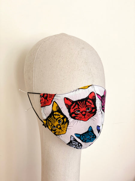 Limited Edition Psychedelic Cats Print Cotton Face Mask C Filtered