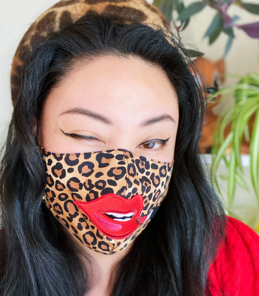 Premium Red Lip Leopard Print Cotton Filtered Face Mask