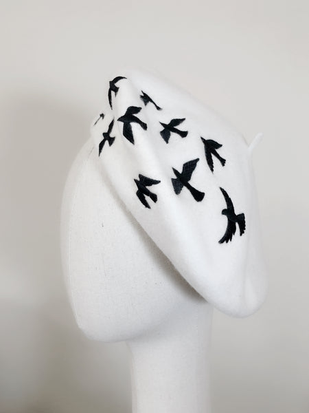 Black White Birds Wool Beret