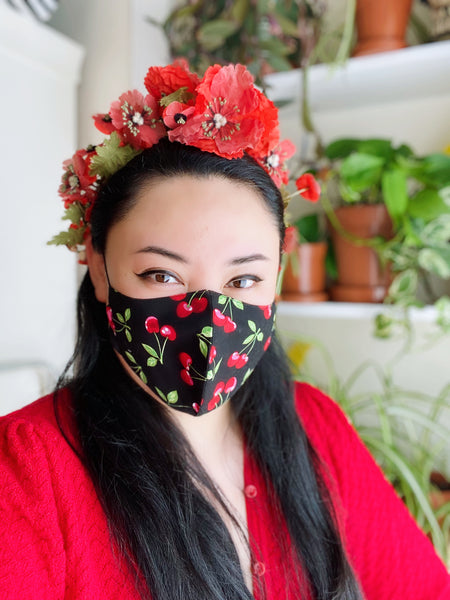 Delicious Cherry Print Cotton Face Mask Filtered Cover