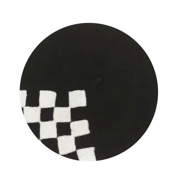 Yuan Li London Millinery Black White Chess board Hand felted wool beret