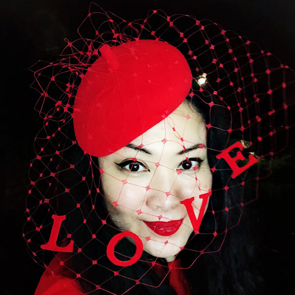 Love Slogan Veil Fascinator