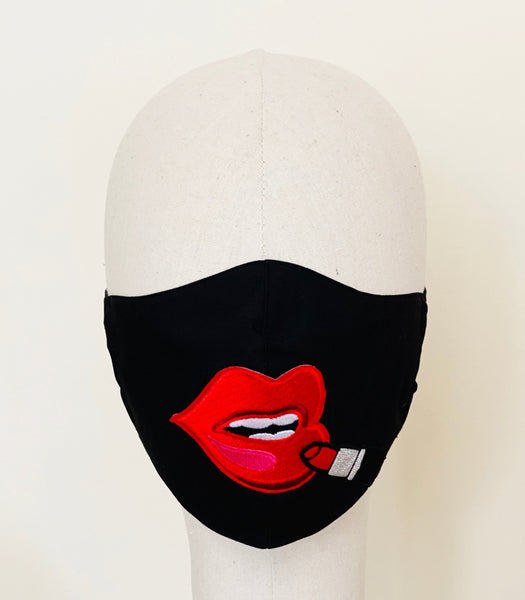 Premium Red Lip Black Cotton Filtered Face Mask