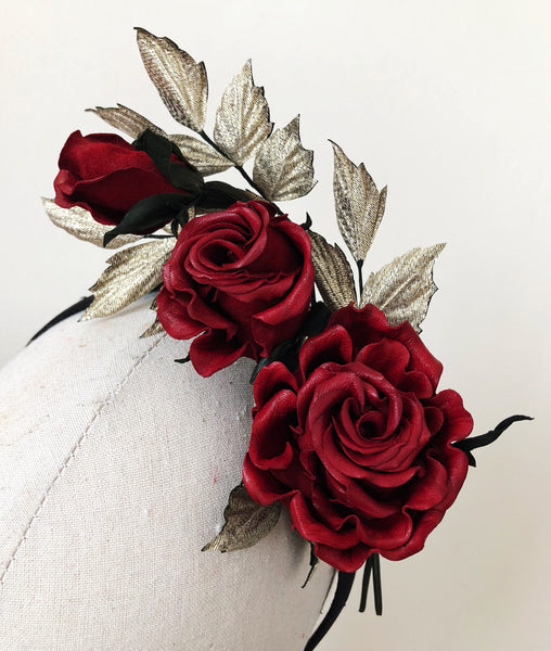Frida Kahlo Inspired Red Leather Rose Headband Fascinator