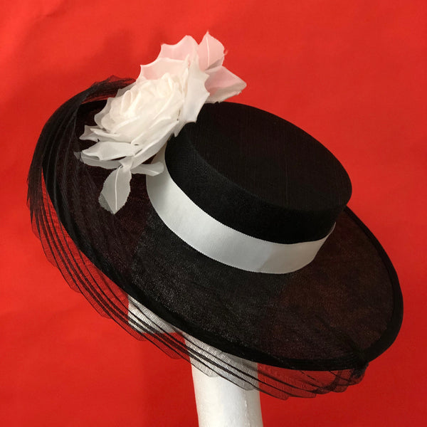 Audrey Black White Silk Flower Boater Hat