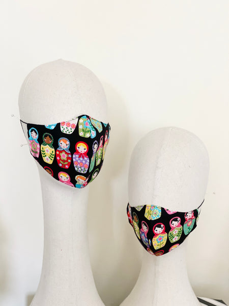 Novelty Russian Dolls Print Cotton Face Cover