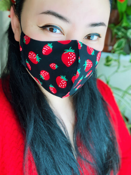 Sweet Strawberry Print Cotton Face Mask Filtered Cover