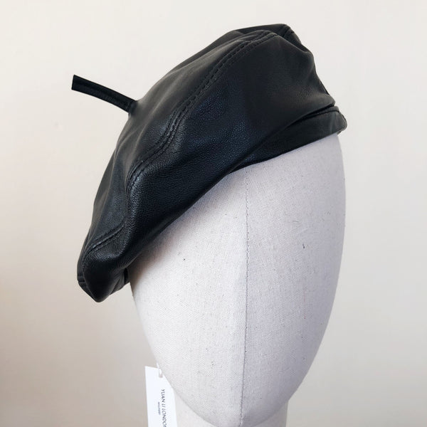 Black Leather Beret Hat Christmas Gift